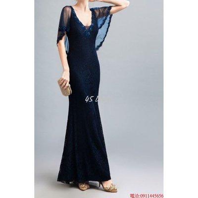 (45 Design高雄實體店面) 定製七天 小禮服宴會晚禮服長款主持人派對連衣裙大尺碼 商品編號E14