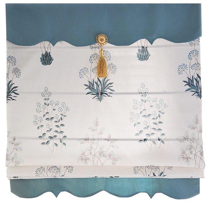 創意 居家裝飾 設計師搭配美式鄉村簡約書房餐廳小清新印花羅馬窗簾定做-風信子