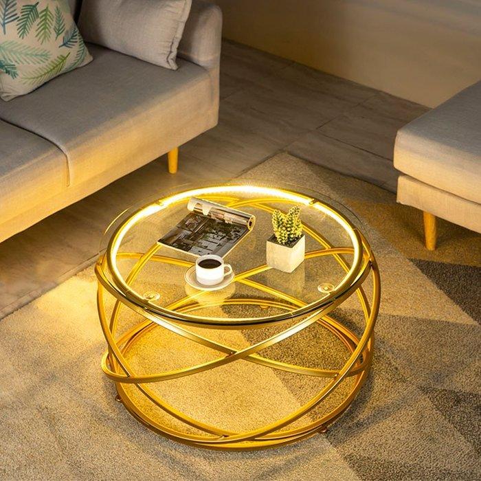 5Cgo【批發】圓形燈光鋼化玻璃茶几輕盈時尚桌子创意设计师藝術客廳金屬小茶几 576894707202