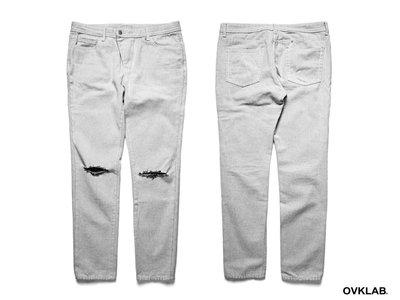 ~PROXY~OVKLAB 15 #x27 AW Damage Denim Jeans 白丹寧長褲 上膠破壞