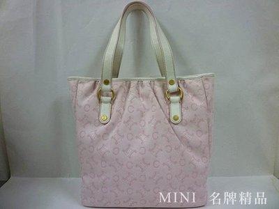 ::MINI名牌精品店::Celine 粉色  粉紅色 緹花布 丹寧布 肩背包 可裝A4  購物包  95成新