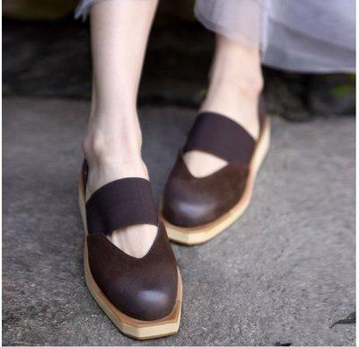 ~皮皮創~原創設計手工女鞋。小方頭擦色...