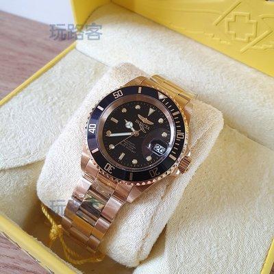 【Wowlook】INVICTA 8929OB Pro Diver 黑色錶盤鍍金男士手錶 8929C