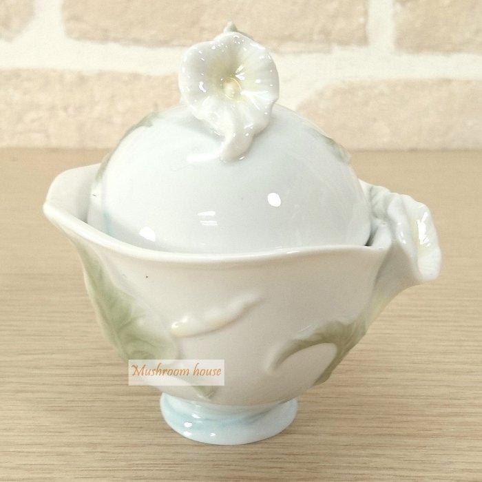 點點蘑菇屋 精緻歐洲高級瓷器亞諾弗系列-海芋花陶瓷糖罐 置物罐 香料罐 萬用罐子 藝術陶瓷精品 擺飾 櫥窗擺設 現貨
