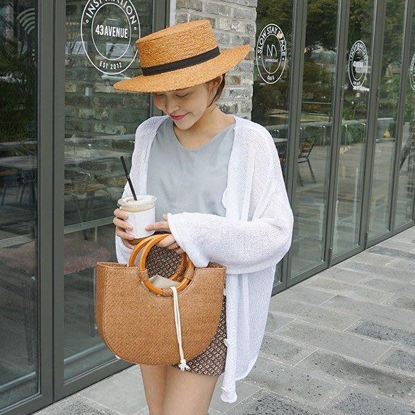 Bellee  正韓 可以正反兩穿  捲捲滾邊鈕扣針織罩衫 外套  防曬款式   (6色)  【GT51526】預購