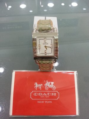 [永達利鐘錶] COACH 方形銀白 皮帶錶 CO14500603/28mm 原廠公司貨保固兩年