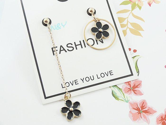 【N&Y】簡約幾何圈圈花朵不對稱耳環耳釘EB86☆可改耳夾款