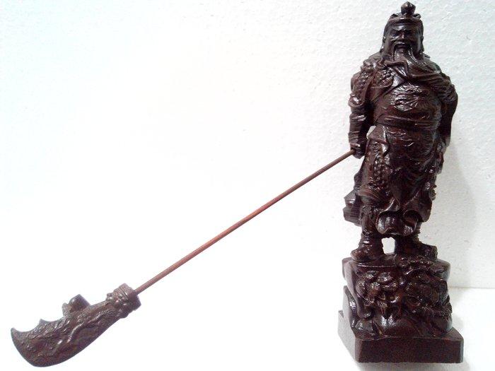 【九龍藝品】沉木雕 ~  戰甲武關公  ~ 義薄雲天.高約22公分 (6)