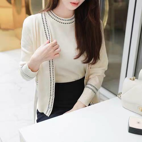 韓國 2件式🎶〰️圓領短袖針織+紋線針織外套 sal335-I