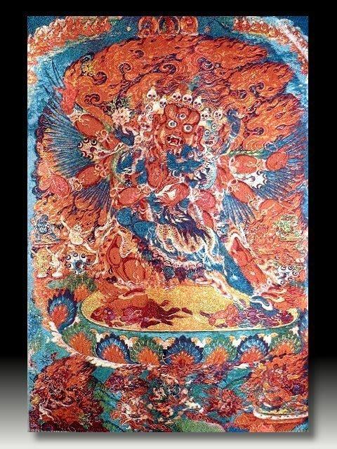 【 金王記拍寶網 】S715 中國西藏藏密佛像刺繡唐卡 密宗唐卡一張 完美罕見~
