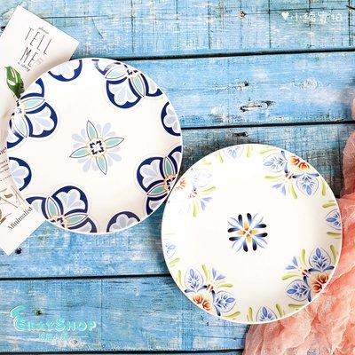 北歐風 復古陶瓷盤|GrayShop| 四款可選 西餐盤 8寸淺盤 復古花 葉子 點心 美食攝影道具 拍照道具