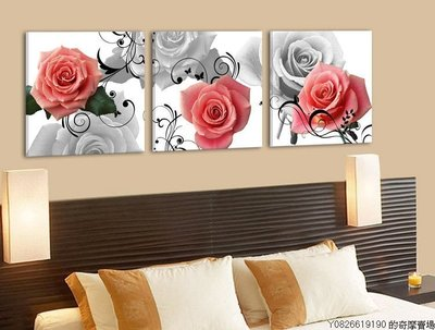 【厚2.5cm】【50*50cm】無框畫現代裝飾畫玫瑰客廳臥室牆壁x-40【220110_0560】3聯畫