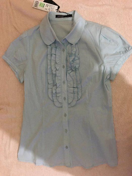 二手百貨專櫃Mastina水藍色荷葉領短袖襯衫 OL必備S號