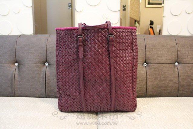 高雄(裕誠店)遠麗米濱全新二手名牌館~K1418 Bottega Veneta 紫色 小羊皮 編織 直立式 購物包 真品