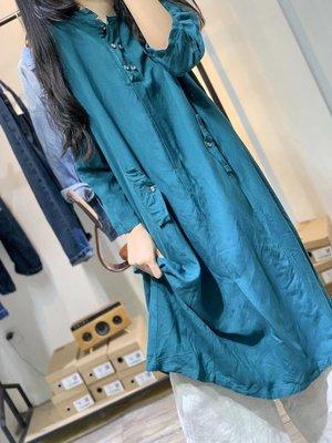 秋裝設計款立領半門襟休閒寬鬆長衫/連衣裙(老銀屋)
