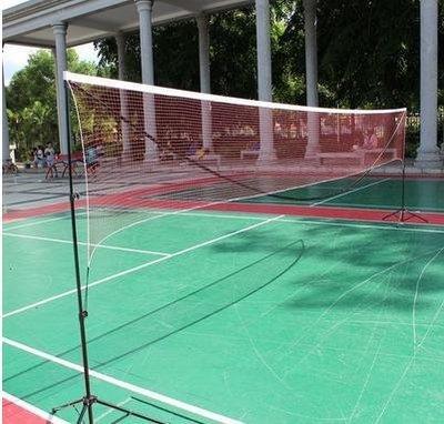 【可擕式多功能網架-4.1米休閒型-鋁管+尼龍球網-4.1*1.55米-1套/組】折疊標準羽毛球網-56007