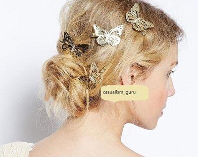 ◎美國代買◎歐美時尚韓星氣質立體金色蝴蝶髮夾~歐美街風~婚晚宴選擇~