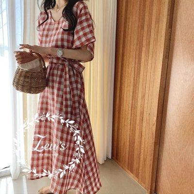 【ZEU'S】田園風綁帶寬鬆格紋洋裝『 06219801 』【現+預】FA