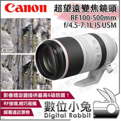 數位小兔【CANON RF100-500mm f/4.5-7.1L IS USM 高機動性專業超望遠變焦鏡頭】公司貨