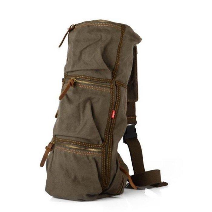 復古帆布斜背包 多用單背胸包旅行包圓筒大包e16