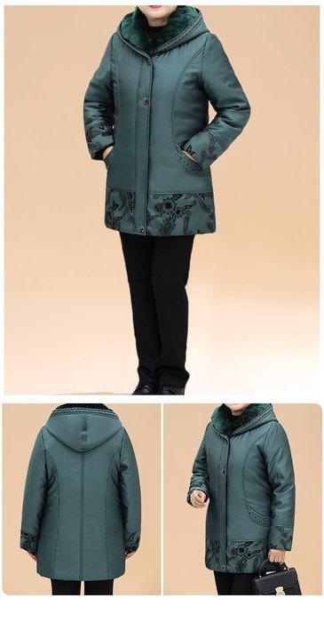 BCFAD 綠色花連帽兩件套加厚羽絨服3XL-7XL秋冬婆婆裝媽媽裝風衣女裝外套大尺碼大碼超大尺碼