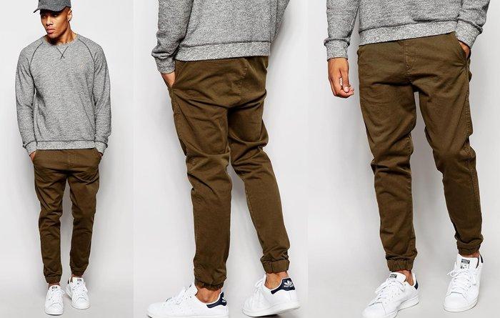 ◎美國代買◎ASOS代買牛仔褲型抽繩腰帶彈性褲口英倫潮男風格彈性褲口抽繩長褲~有大尺碼~歐美街風