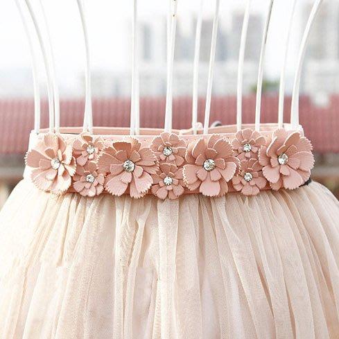 韓版女士水鉆細腰封百搭松緊寬腰帶女時尚小花朵夏季甜美裙子配飾