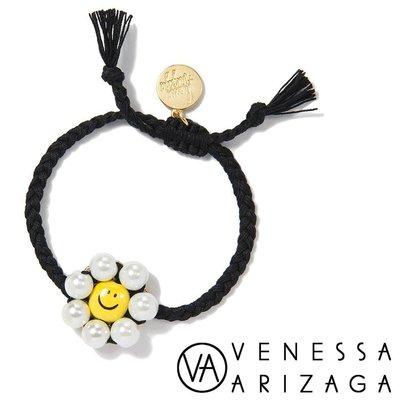 Venessa Arizaga SUNSHINE DAISY BRACELET 白色珍珠笑臉手環 黑色手鍊