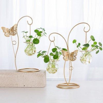 創意歐式小清新綠蘿水培植物玻璃瓶鐵藝擺件花瓶插花容器裝飾花器    全館免運
