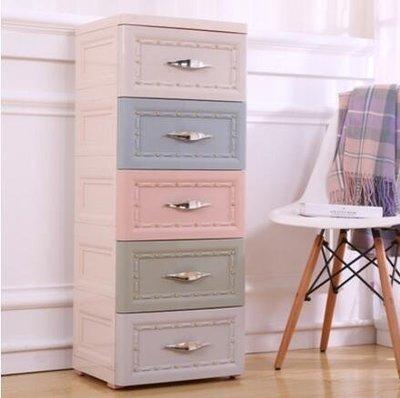 『格倫雅』加厚抽屜式收納櫃塑膠歐式床頭櫃簡易五鬥櫃子多層整理櫃兒童衣櫃(2款  果)^3510