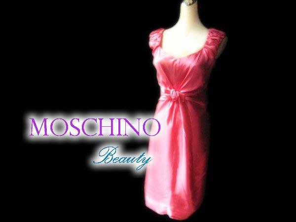 *Beauty*MOSCHINO珊瑚粉色蝴蝶結無袖洋裝 禮服  近全新