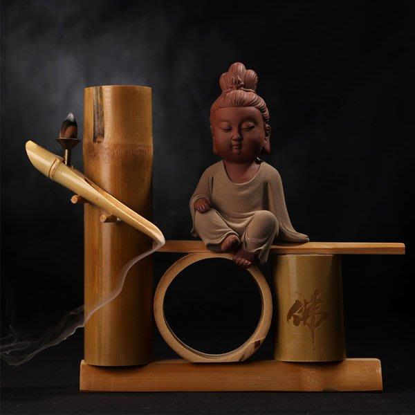 5Cgo【茗道】含稅會員有優惠 525753771989 紫砂陶瓷佛像觀音地藏菩薩如來佛竹制倒流香座香爐家居工藝品擺件