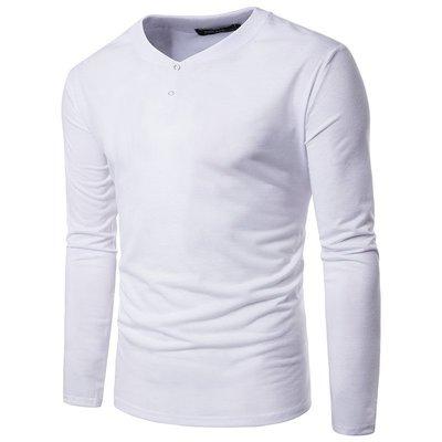 外貿實拍簡約純色大身單排扣門襟男士休閑圓領長袖T恤