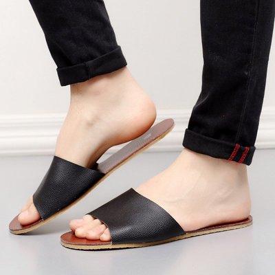 情侣男女真皮拖鞋居家室内地板防滑家居夏天凉拖25,26,27各色都有,28,29只做黑色根淺棕色