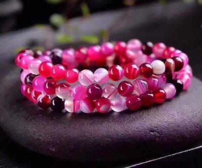 天然夢幻條紋紅瑪瑙多圈水晶手鍊(珠約6mm)