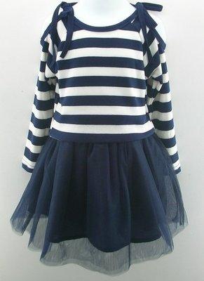 翔翔童衣舖[貨號:C9133]女童款~ 早秋  條紋綁帶挖肩上衣+蓬紗短裙 (套裝)