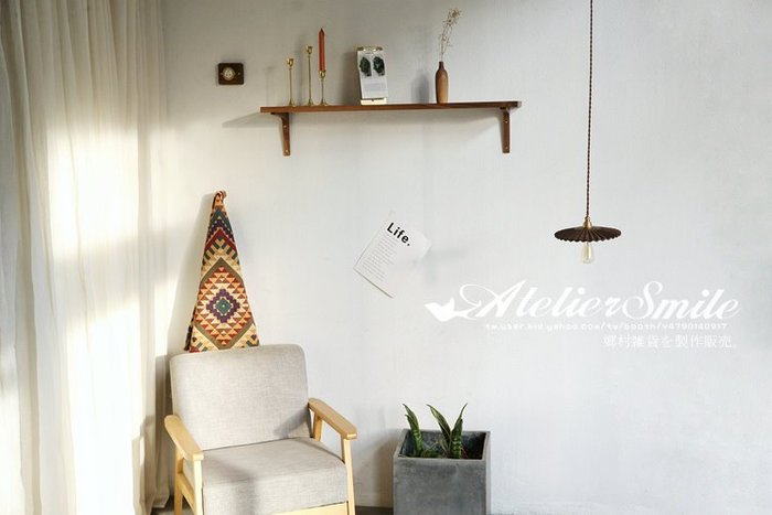 [ Atelier Smile ]  鄉村雜貨 紅橡木 黑胡桃木 手工訂製 層板 置物架 壁掛架 40X20 # 含支架