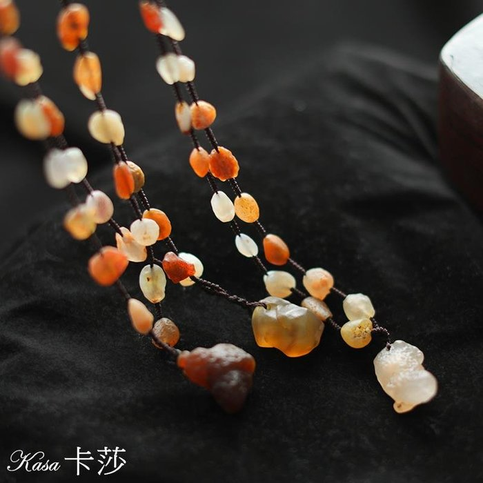 飾品♥天然石珠鏈掛件 早春新款復古文藝百搭彩色珠串毛衣鏈