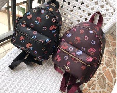 品牌折扣館 美國代購正品 COACH 22234 新款花朵圖案雙肩背包 後背包 女包 附購買證明