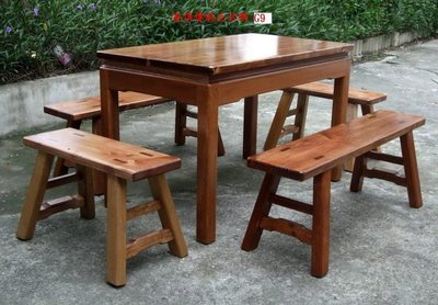 A036 {崙頂傳統原木家具行}~杉木實木桌配杉木板凳整組 接受訂做.訂色