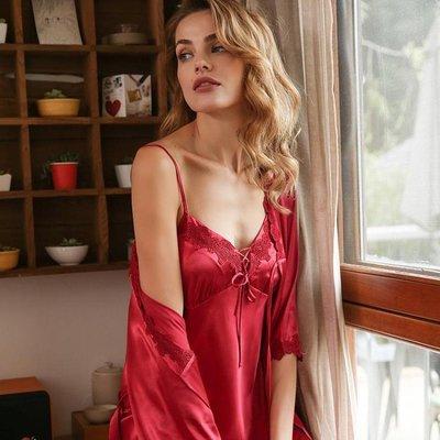 睡衣女夏套裝短袖睡裙兩件套冰絲性感吊帶寬鬆薄絲綢本命年家居服