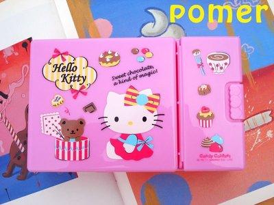 ☆POMER☆ SANRIO絕版正品 HELLO KITTY 凱蒂貓 甜點塗鴉 粉紅 分類分隔珠寶盒 飾品盒 收納盒