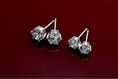 2克拉18K白金耳環(莫桑石 摩星鑽 非鑽石)