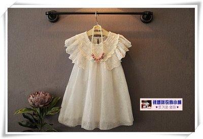 •*~ 辣媽咪衣飾小舖 ~*•❤童裝系列❤N530725韓版甜美可愛蕾絲花雙層娃娃裙