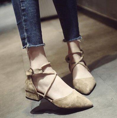 韓版百搭絨面粗跟尖頭淺口包頭交叉綁帶單鞋 涼鞋 懶人鞋—莎芭
