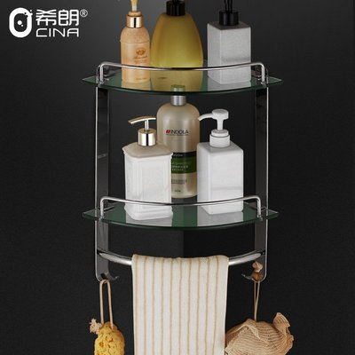 Metis 304不銹鋼三角鋼化玻璃置物架單雙層浴室掛件衛生間轉角架角籃