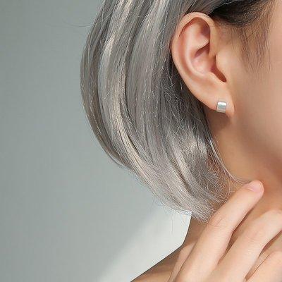 925純銀C型拉絲耳釘女半圓弧形氣質簡約時尚chic耳環幾何圓圈耳飾