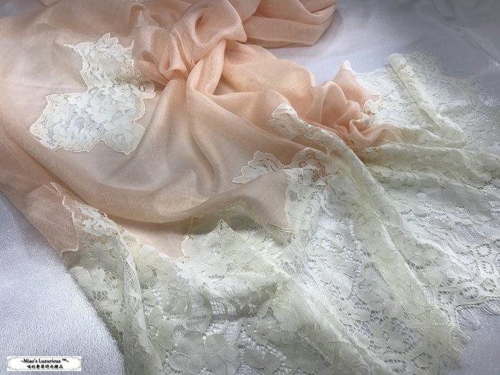 超限量絕美夢幻女人氣- 100% Cashmere精緻200支鑽石紋粉橘拼接米白法式浪漫蕾絲圍巾披肩pashmina