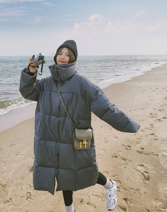 ☆MISS.STORE☆韓版冬季新款保暖過膝長版立領棉服外套(二色)~預購+現貨