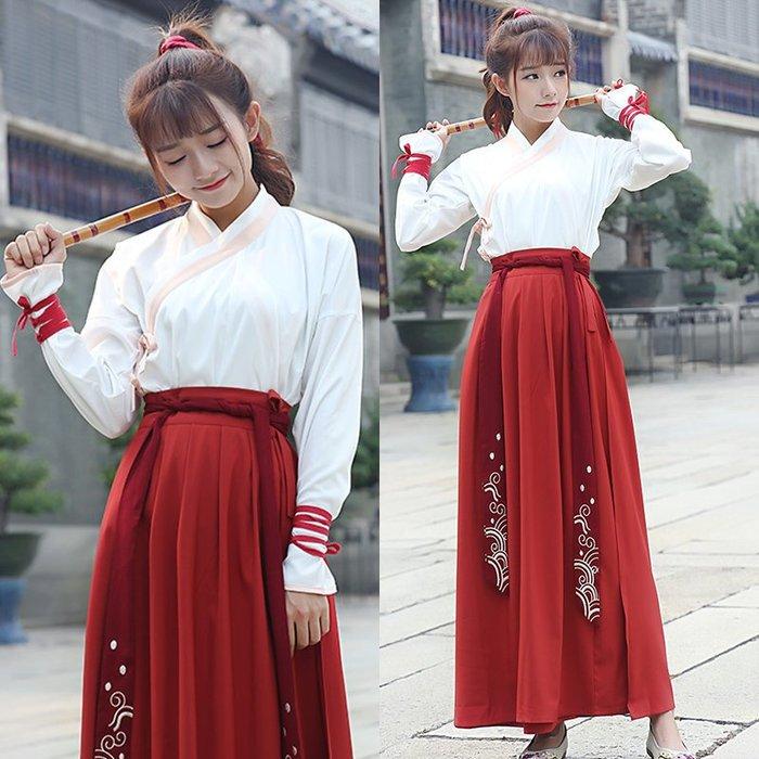 新款改良漢服 棗紅色魚鱗繡花交領襦裙 日常服裝 套裝—莎芭
